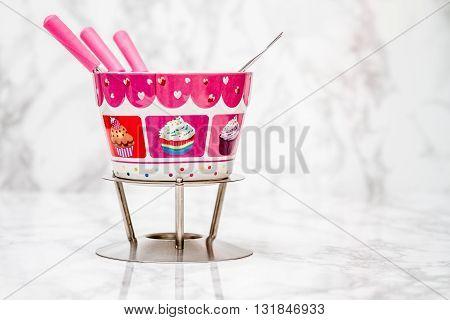 Decorative Chocolate Fondue Bowl And Sticks