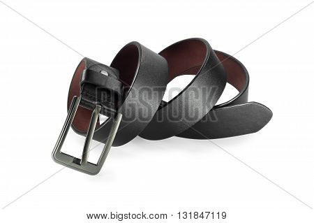 Belt or men's black belt isolated on white background. Belt isolated. Black leather belt. Classic style of black belt.