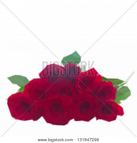 Low poly illustration pile of vivd red roses isolated on white background