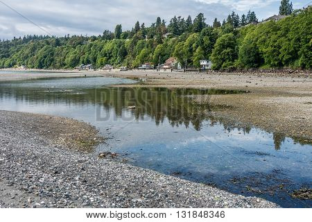 A view of the shoreline at low tide in Des Moines Washington.