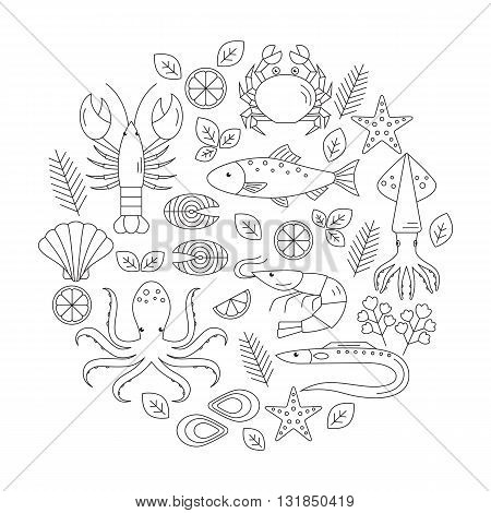 Seafood vector flat line icons set. Vector illustrations of lobster, crab, salmon, fish, squid, oyster, shrimp, octopus, eel. Seafood menu background. Fresh seafood restaurant illustration.