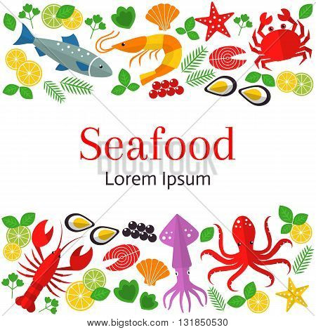 Fresh seafood background. Vector flat illustrations of lobster, crab, salmon, fish, squid, oyster, shrimp, octopus, eel. Seafood restaurant banner.