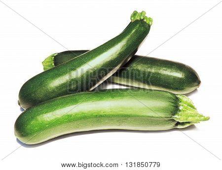 Fresh zucchinis, fresh vegetables isolated on white background