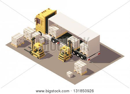 Vector Isometric icon set or infographic element representing box semi-trailer and forklift loading pallets with cardboard boxes. Low poly style