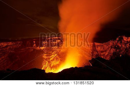Flame In Volcano Crater