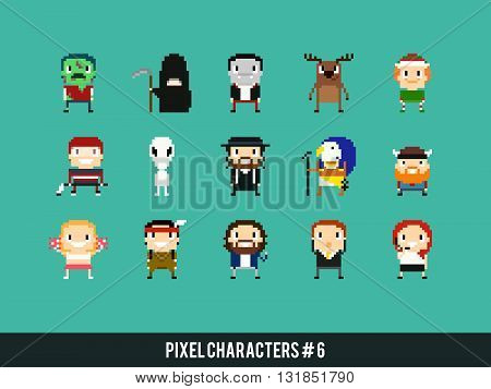 Set of different pixel art characters avatar