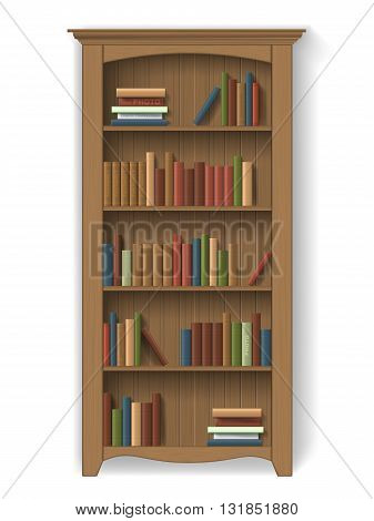 Wooden bookcase with books on the shelves. Furniture for interior library or cabinet. Element of interior decoration - detailed vector isolated.