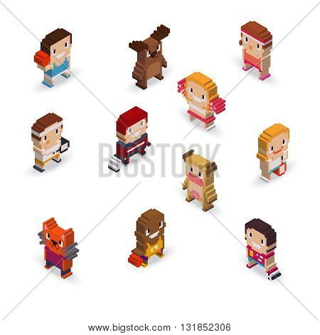 Isometric pixel art sport characters. Soccer basketball hockey tennis players and mascots