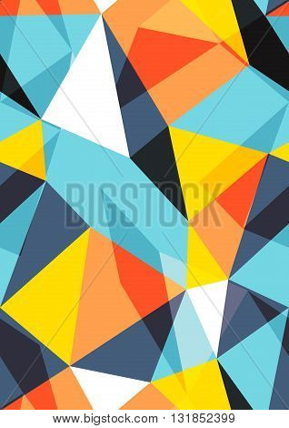 Bright retro background with different colored transparent triangles