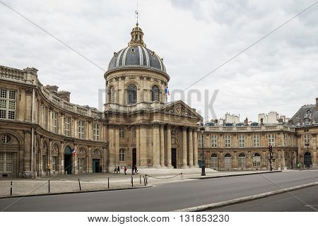 PARIS, FRANCE - MAY 14, 2013: In this historic magnificent building called the Bibliotheque Mazarine is the Academy of Fine Arts and the Institute of France.