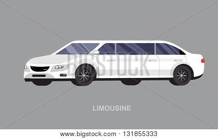 detailed vector luxury limousine car white . Vector limousine. Illustration  limousine