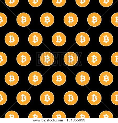 Bitcoin seamless pattern. Monetary system. Bitcoin on black background. Vector.