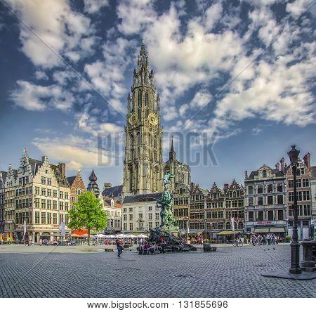 ANTWERP BELGIUM MAY 12 2016 Great Market Square