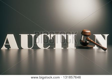 Wooden auction gavel on grey background, close up