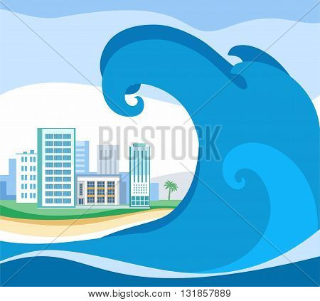 Tsunami, colored picture, vector. A huge wave rolls on coast. On the shore stands the city. A natural disaster. Colored, flat picture.