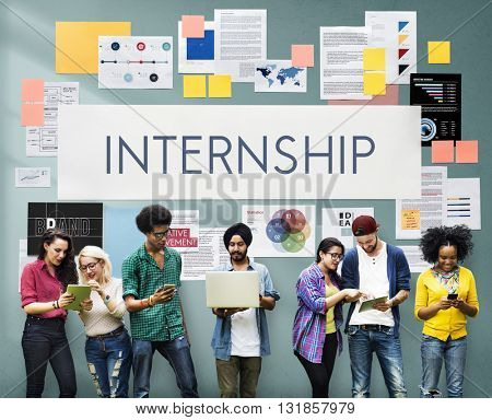 Internship Management Temporary Position Concept poster