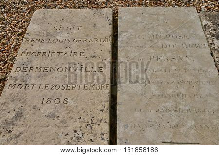 Vernouillet France - april 4 2015 : the marquis of Girardin tomb