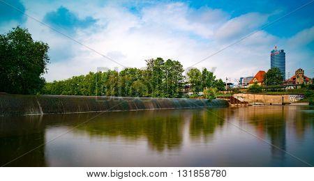 JENA, GERMANY - MAY, 29, 2016: The dam on the river Saal. Jena. Germany.