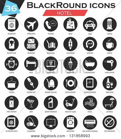Vector Hotel circle white black icon set. Ultra modern icon design for web