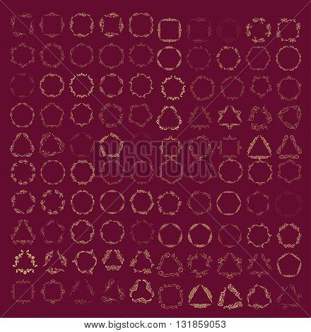 Set of elegant monogram design. Vector  linear frame and monogram illustration. Trendy linear monogram and linear frame. Monogram set