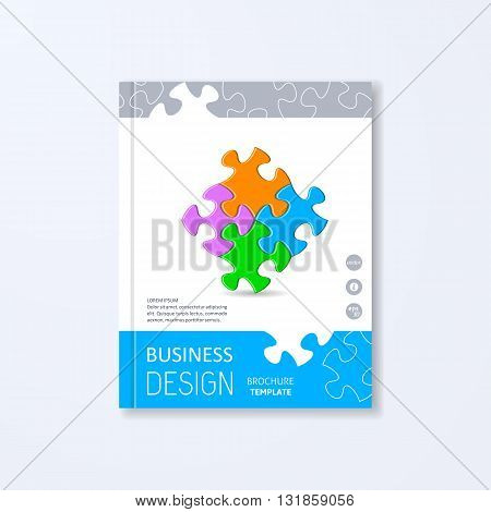 Vector brochure design template with colorful puzzle pieces