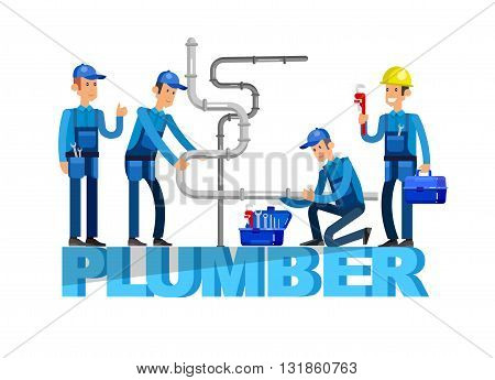 detailed character proffesional plumber men set , plumber repair professional, plumber fixing water pipes. Vector plumber set. Illustration plumber character. poster