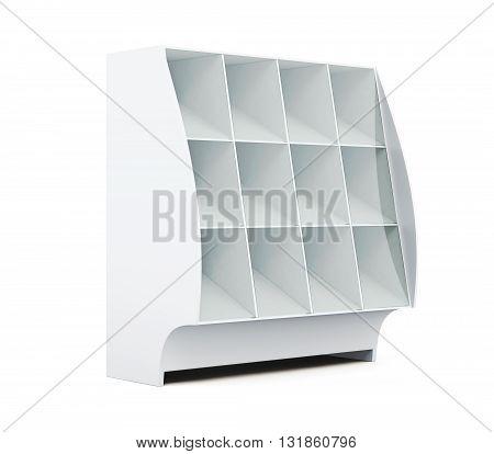 Showcase with shelves isolated on white background. Supermarket showcase. Glassed showcase. 3d rendering