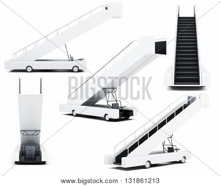 Set of movable boarding ramp isolated on a white background. 3d rendering.