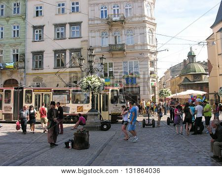 Lvov, Ukraine - June 4, 2015: Market Square - historical and tourist centre of  Lvov, Ukraine. Historical centre of Lvov is UNESCO World Heritage Site