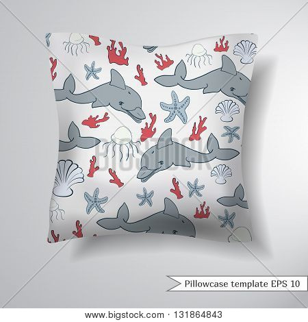 Creative sofa square pillow. Decorative pillowcase design template. Pattern with marine symbols on a light background. Vector illustration.