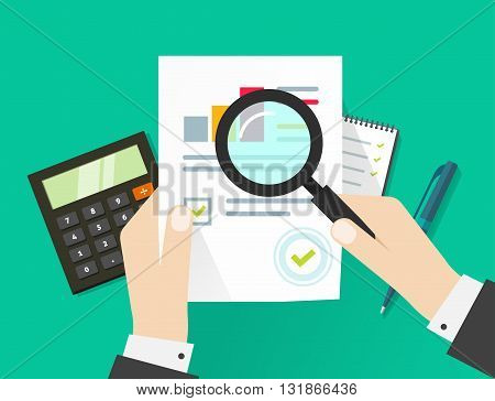 Paper sheet, hands, magnifier, paperwork, consultant, business adviser financial audit, auditing tax process, big data analysis, seo analytics, financial research report, market stats calculate vector