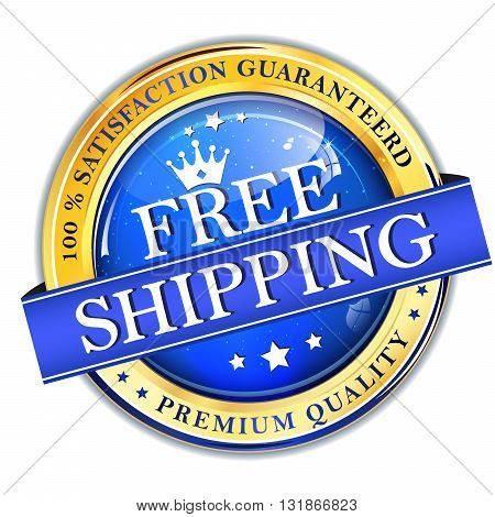 Free Shipping. 100% satisfaction guaranteed. Premium Quality - elegant business shiny golden blue button / icon / label for retail industry. poster