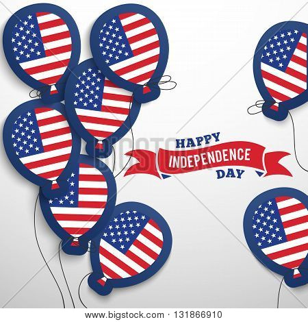 American patriotic flag balloons cut out from paper. Vector illustration USA holidays. Happy independence day. National America celebration card 4th of July. Election freedom concepts. Red blue colors