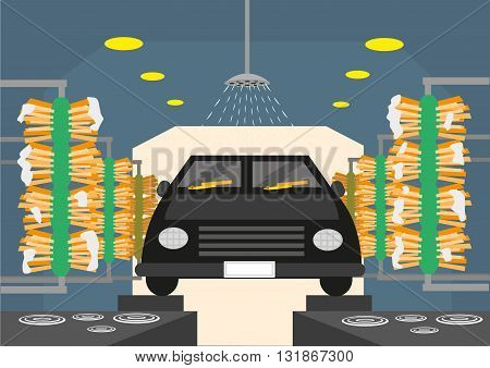 Automated Carwash tunnels with brushes and shower. Editable Clip Art.
