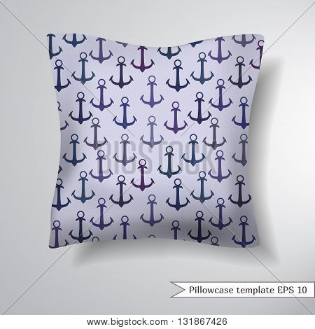 Creative sofa square pillow. Decorative pillowcase design template. Pattern with silhouetts of the anchors. Vector illustration.