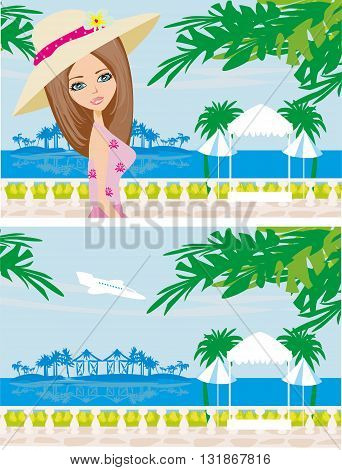 Beautiful young woman in a tropical resort , vector illustration