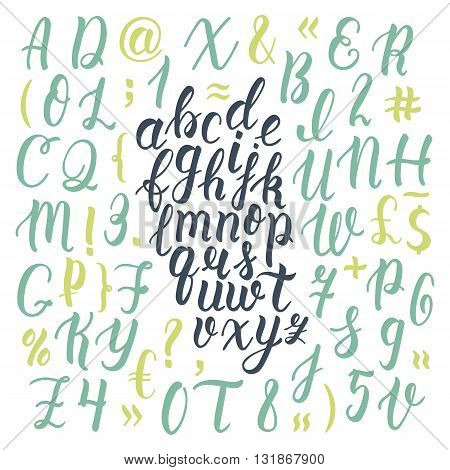 Handdrawn latin calligraphy brush script with numbers and symbols. Calligraphic alphabet. Vector illustration