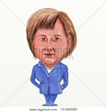 MAY 30, 2016: Caricature illustration of Angela Dorothea Merkel German politician and Germany's first female Chancellor standing viewed from front on isolated background in in watercolor cartoon style.