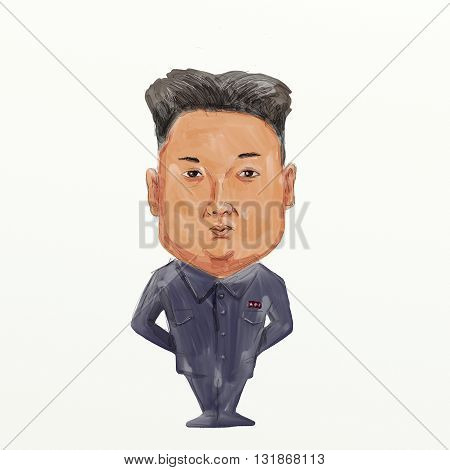 MAY 30, 2016: Caricature illustration of Kim Jong-un Kim Jong-eun Kim  or Kim Jung-eun the supreme leader of the Democratic People's Republic of Korea (DPRK) commonly referred to as North Korea. standing viewed from front on isolated background done in wa