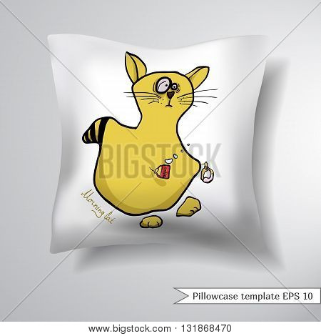 Creative sofa square pillow. Decorative pillowcase design template. Painted auburn funny cat with red mug of coffee and a donut. Vector illustration.