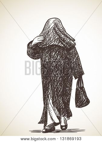 Sketch of muslim woman walking with head full covered, Hand drawn vector illustration