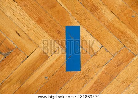 Steel Locks For Training Equipment. Worn Out Wooden Floor Of Sports Hall