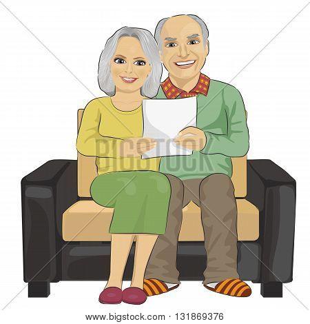 Portrait of happy senior couple reading letter togetherer isolated on white background