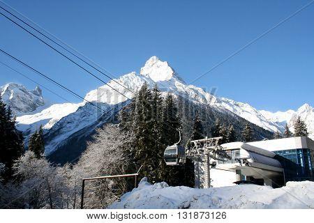 Elevator in the mountains of Dombai Caucasus