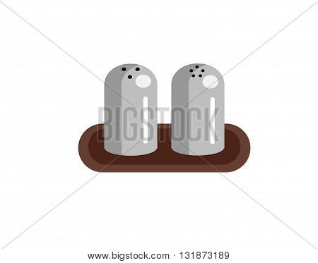 salt shaker and pepper icons. Vector salt shaker and pepper. Illustration salt shaker and pepper. Metal Salt shaker and pepper isolated on white background