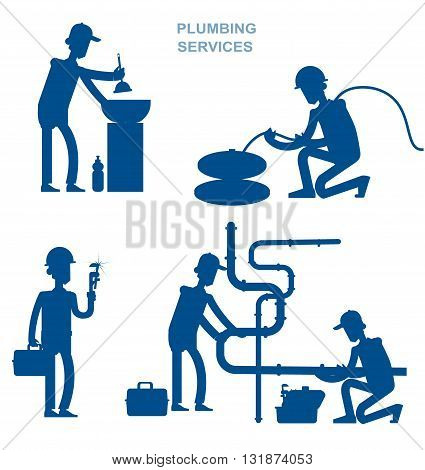 silhouette proffesional plumber men set with repair professional fixing water pipes. Concept banner plumbing servise poster