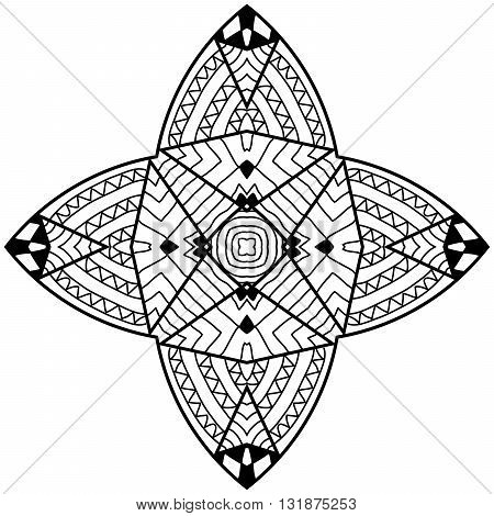 Quadrangular mandala in zendoodle style. Adult coloring page with hand drawn patterns.