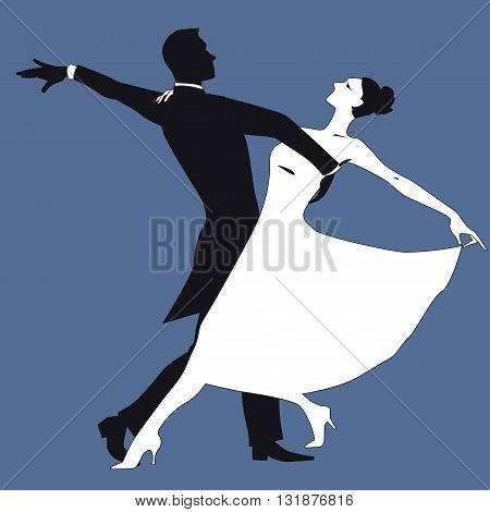 Black and white silhouette of a couple dancing waltz, vector illustration