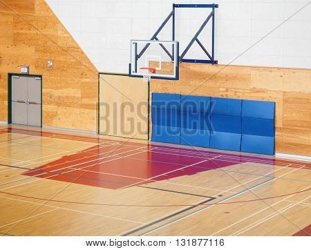 Basketball gymnasium equipped for training in the school