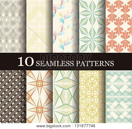 Set of 10 reto seamless pattern can be used for wallpaper, website background, textile printing. Modern geometric texture.